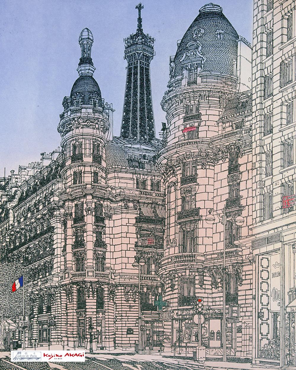 A la rue de Passy / E-89 - 1996, Eau-forte et Aquatinte, Atelier Garric Tanguy,100 tirages + 20 E.A. romain,sur papier Moulin du Gué 58 x 76 cm.