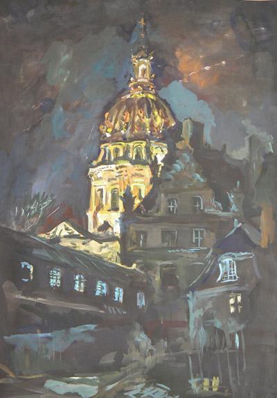 Les Invalides, paysage nocturne, 70x 50 cm, technique mixte sur carton noir